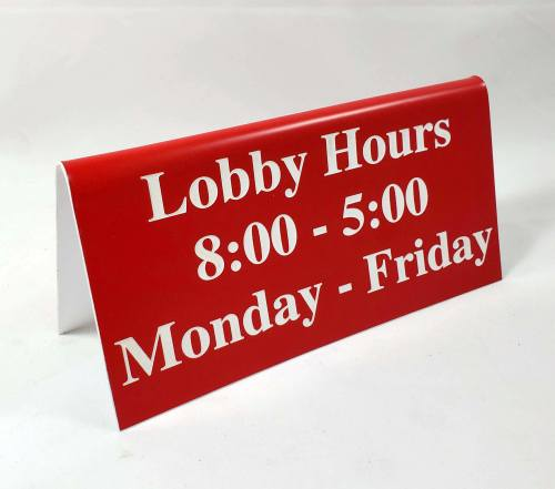 Lobby Hours Tent Sign Red and White for Hotels