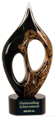 10 1/4 inch Black/Gold Coral Art Glass10 1/4 inch Black/Gold Coral Art Glass