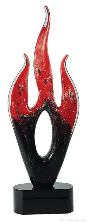 16 1/4 inch Red/Black Flame Art Glass on Black Base