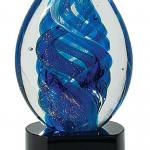 6 1/2 inch Blue Oval Swirl Art Glass on Black Base