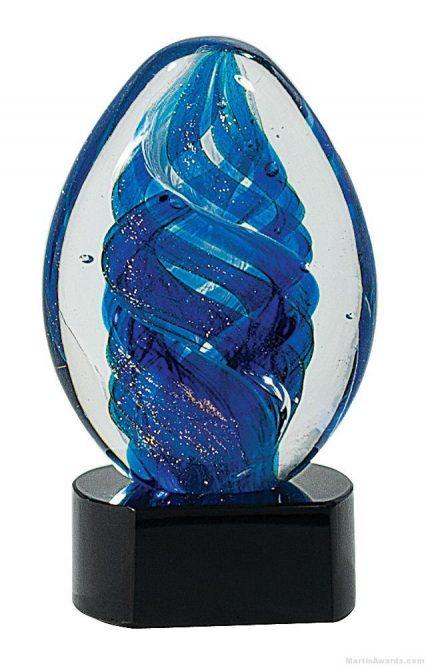 6 1/2 inch Blue Oval Swirl Art Glass on Black Base