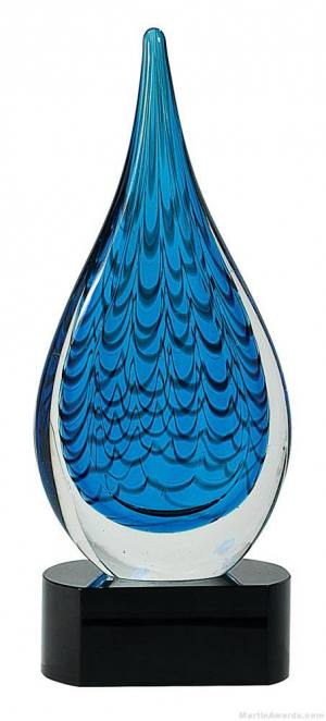 12 1/2 inch Blue Rain Drop Art Glass on Black Base