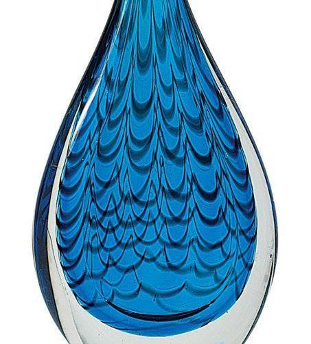 12 1/2 Inch Blue Rain Drop Art Glass Award On Black Base