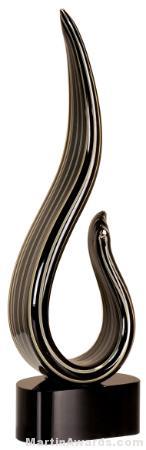 13 1/4 inch Black/Gold Curve Art Glass