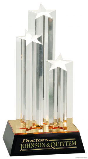 "11 3/4"" Clear Triple Star Column Acrylic with Gold/Black Base"