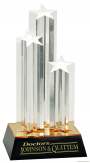 11 3/4″ Clear Triple Star Column Acrylic with Gold/Black Base  1
