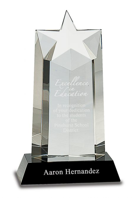 9.25″ Crystal Star Column on Black Pedestal Base