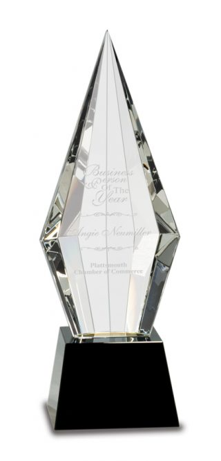 11 inch Obelisk Facet Crystal on Black Pedestal Base