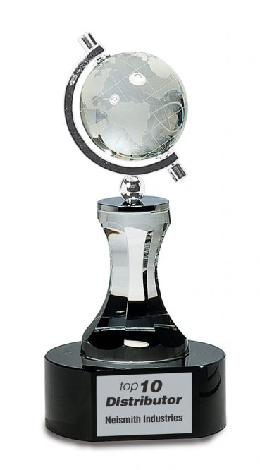 Spinning Crystal Globe on Black Base