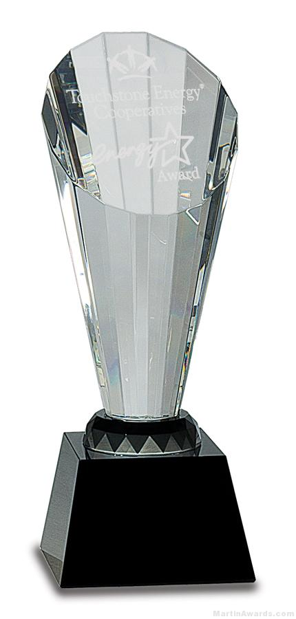 Clear Crystal Spire Facet Award on Black Base