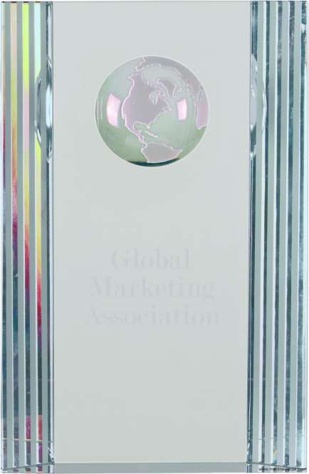 Crystal Award with Globe Etching