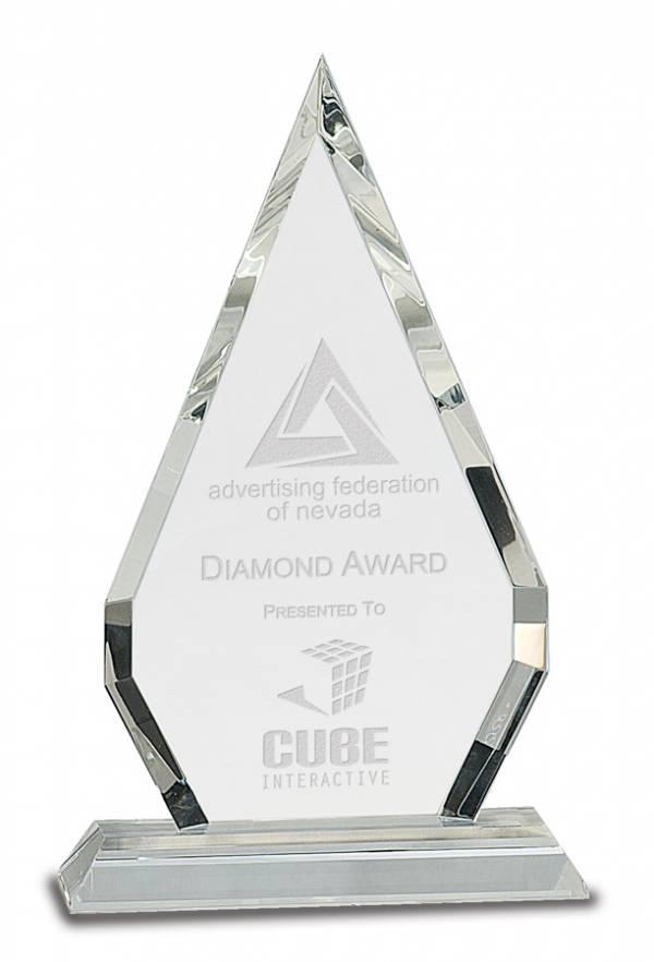 Crystal Diamond on Clear Pedestal Base