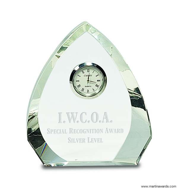 5 1/2″ Clear Crystal Arch with Clock