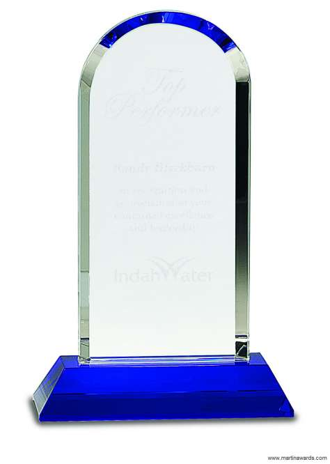 9 1/4 inch Clear Crystal Dome on Blue Pedestal Base