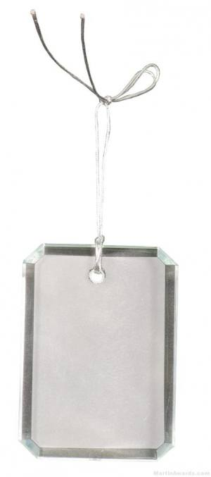 3 inch Crystal Rectangle Clipped Corner Ornament