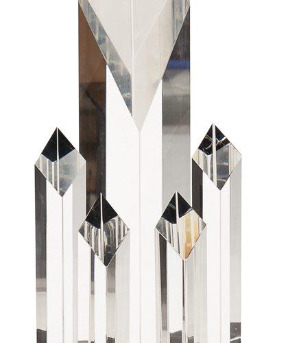 11 inch Clear Crystal 5 Rising Diamonds on Black Pedestal Base