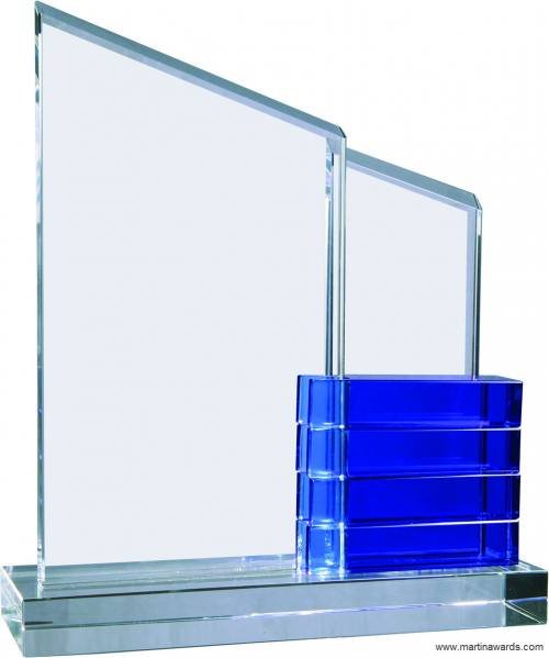 Crystal Perpetual Standup Plaque with Blue Crystal Blocks
