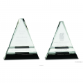 Clear Crystal Triangle on Black Crystal Pedestal Base
