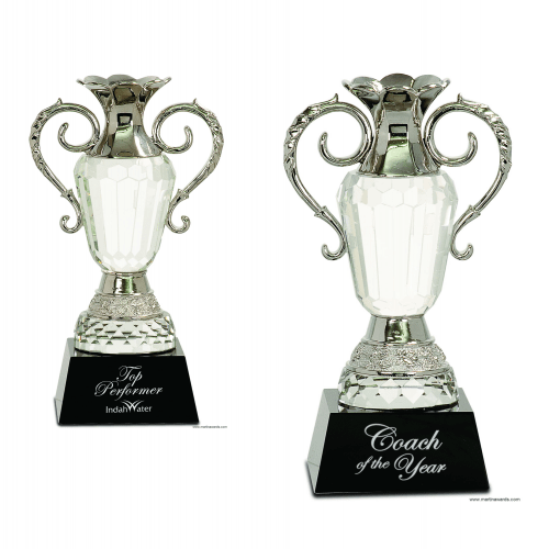 Crystal Cup with Silver Metal Handles on Black Pedestal Base