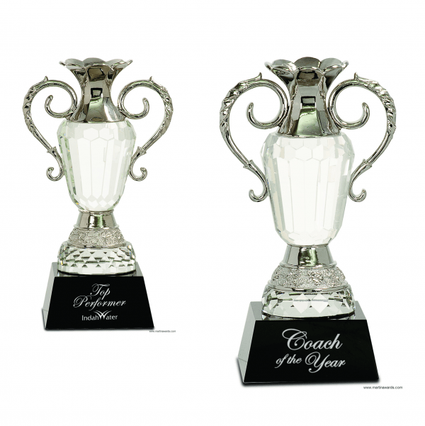 Crystal Cup with Silver Metal Handles on Black Pedestal Base