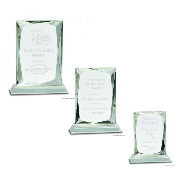 Crystal Rectangle Award on Clear Base