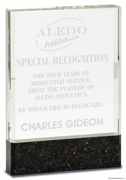 Clear Fusion Crystal Award with Genuine Black Marble