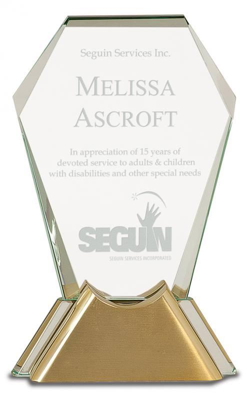 Gemstone Jewel Glass Award with Gold Metal Base