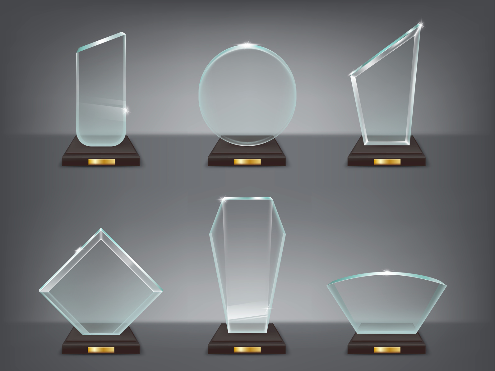 Collection of isolated vector illustration of modern glass trophies, prizes