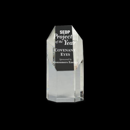 """6 1/4"""" Clear Crystal Octagon Tower"""