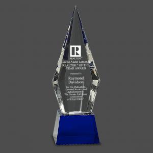"""9 1/2"""" Obelisk Facet Crystal on Blue Pedestal Base"""