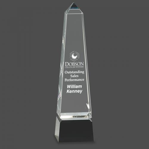 """10"""" Obelisk Crystal on Black Pedestal Base"""
