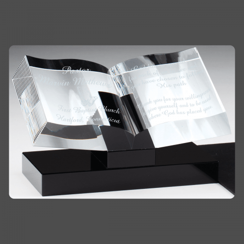 "7 1/2"" x 4 3/4"" Crystal Open Book on Black Base"
