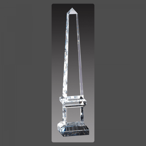 "2 3/4"" x 12"" Crystal Obelisk Towers on Pedestal"