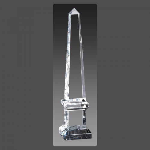 """2 3/4"""" x 13"""" Crystal Obelisk Towers on Pedestal"""
