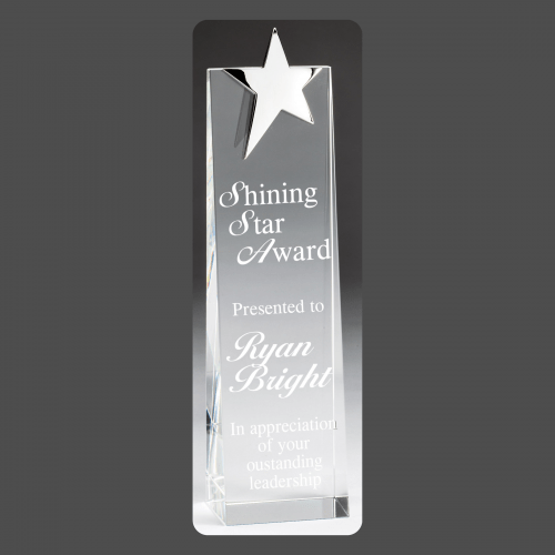 """2 3/4"""" x 11"""" Silver Star Crystal Tower"""