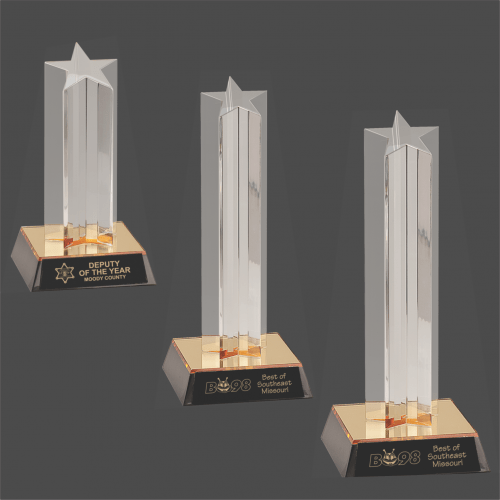 Clear Single Star Column Acrylic with Gold/Black Base