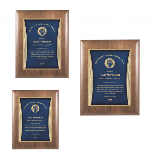Walnut Plaque with Blue Showtime Plate