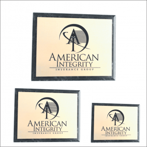 Black Marble finish Plaque with Gold or Silver Plate