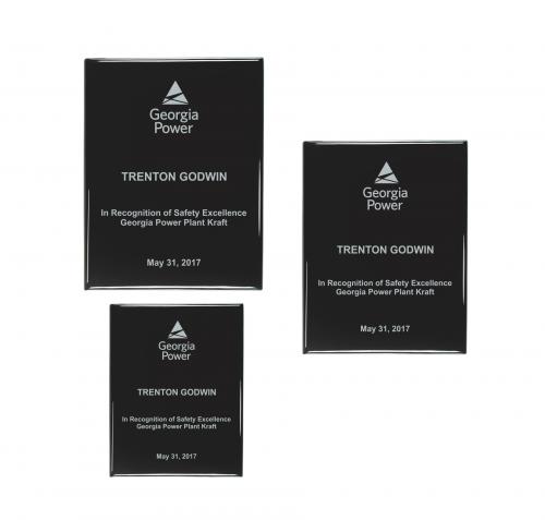 Black High Gloss Color-fill Plaque - Square Corners