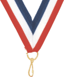 """7/8"""" Red, White, Blue Neck Ribbon with Snap Clip"""