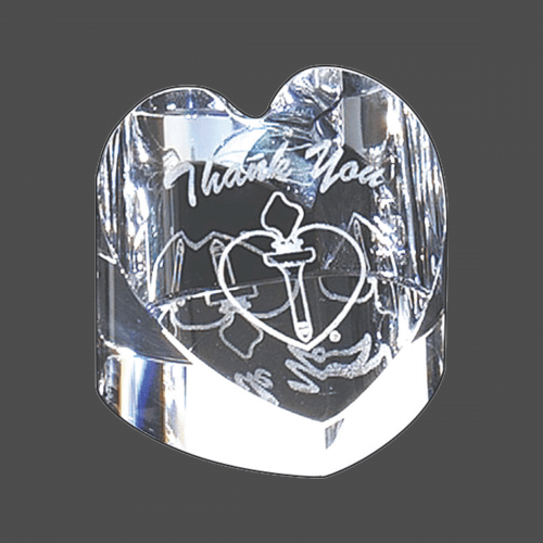 """2 1/4"""" x 2 3/4"""" Crystal Heart Paperweight"""