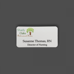 "1 1/2"" x 3"" White Metal 4-Color Process Name Badge"