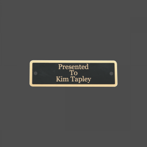 "1"" x 3 1/4"" Black Brass Metal Name Tag with Gold Border"