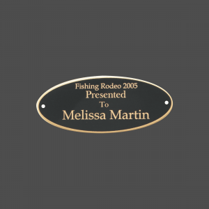 "2 1/2"" x 7"" Oval Black Brass Metal Name Tag with Gold Border"