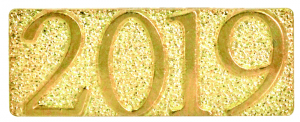 Gold 2019 Metal Chenille Letter Insignia