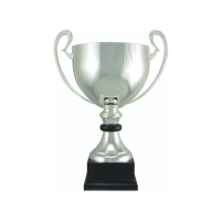"18 1/2"" Silver plated Italian trophy cup with wood accent"