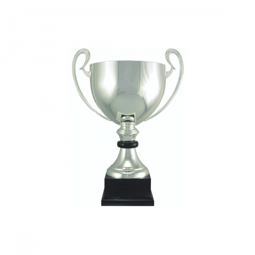 "16 1/2"" Silver plated Italian trophy cup with wood accent"
