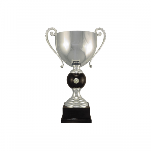 """18 1/2"""" Silver plated Italian trophy cup with coin inset"""