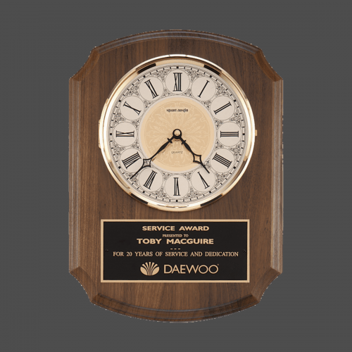 """10 1/2"""" x 13"""" Walnut Wood Clock with Brass Grandfather Face & 3-hands"""
