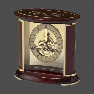 Rosewood Skeleton Clock with Brass Accents